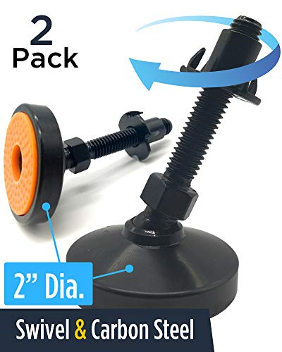 Swivel & Adjustable Leg Leveler Feet - UNWIREDD 2-Pack Carbon Steel Self Leveling Feet with T-nut - 2 Inch Dia. Base, 1000 LB Capacity - Best for Workbench, Machine, Cabinet ()