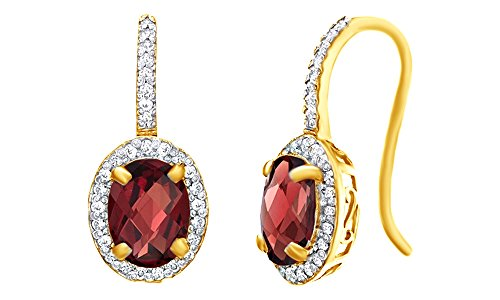 Oval Shape Red Simulated Garnet & White Topaz CZ Frame Drop Earrings In 14K Yellow Gold Over Sterling Silver 14k Yg Frame