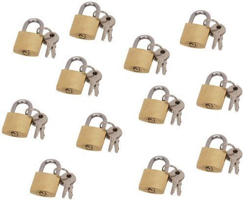 3/4'' (20mm Appx) Mini Brass Lock 12-piece Set