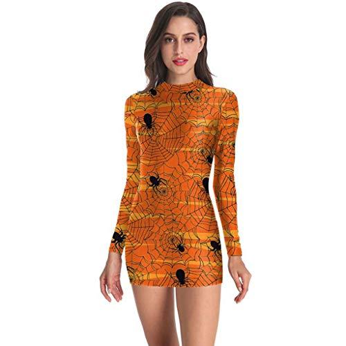 KLFGJ Women Halloween Dress Long Sleeve Punk Skeleton Bloodstain Print Party Evening Mini Costums Orange]()