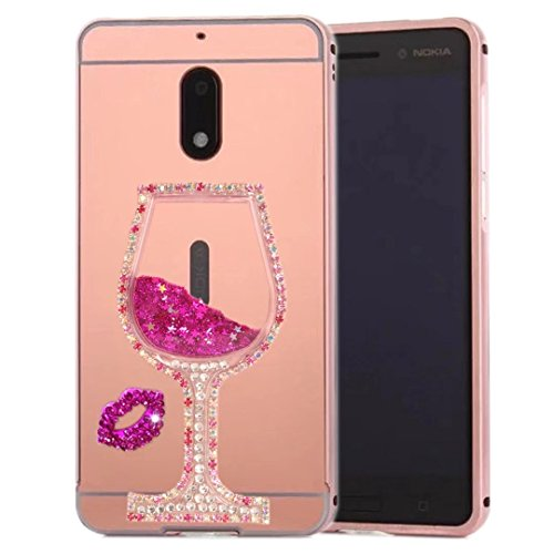 HTC Desire 628 Mirror Case, QKKE [Goblet Series] Metal Air Aluminum Bumper Detachable + Mirror Hard Back Case 2 in 1 Cover Ultra-Thin Frame for HTC Desire 628(Goblet Diamond/Rose)