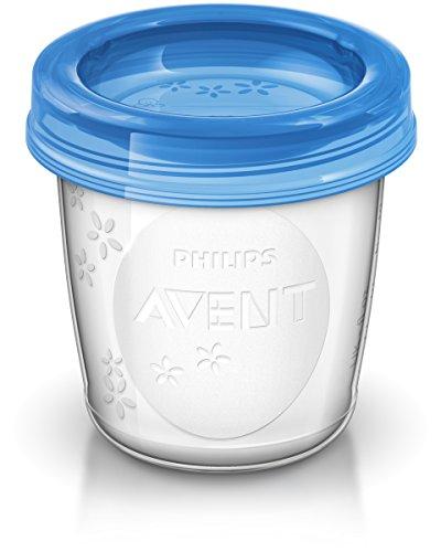 Philips Avent SCF619/05 Set Vasetti per la Conservazione del Latte e delle Pappe 5 pezzi, 180ml