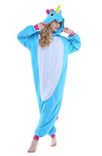 Newcosplay Unisex Unicorn Pyjamas Halloween Costume (S, New Blue Unicorn)
