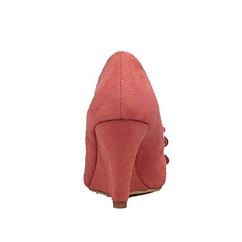 AllhqFashion Womens Pointed Closed Toe Pull-on Imitated?Suede Solid High-Heels Pumps-Shoes Pink q0LBJ