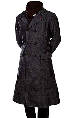 Sherlock Holmes Benedict Cumberbatch Wool Long Trench Coat Jacket (S) Black