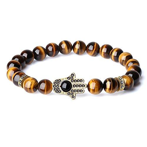 COAI Healing Stone CZ Pave Hamsa Hand Matte Onyx Prayer Bracelet