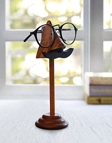 Store Indya Eyeglass Holder Stand Spectacle Holder Wooden Display Stand Nose Moustache Shaped Optical Glasses - Eyeglass Size Frame Dimensions