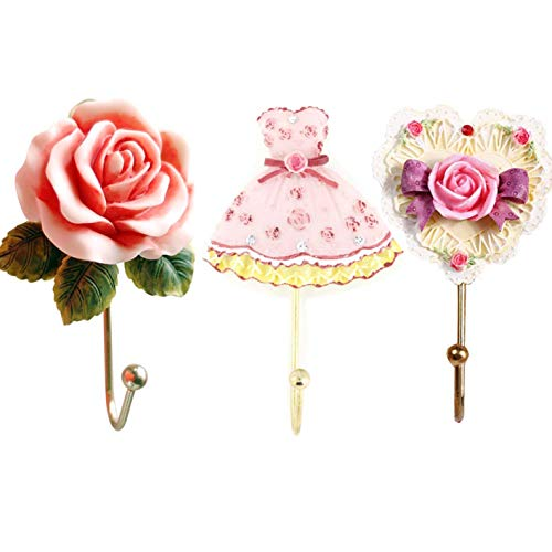 Evoio 3PCS Wall Hooks Rose Flower/Heart /Dress Resin Wall Mounted Vintage Hook Hanger Organizer for Bathroom Towel Clothes Rack Coat Hat Robe Pink(3 in 1)