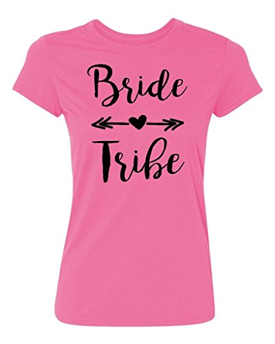 Bride Womens Pink T-shirt - P&B Wedding Bridal Party Gear Bride Tribe Women's T-Shirt, M, Azalea Pink