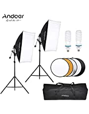 Andoer Photography Studio Softbox Lighting Tent Kit Photo Video Equipment 2 * 135W Bulb 2 * Light Stand 2 * Softbox 1 * 60cm 5in1 Photography Reflector 1 * Carrying Bag for Portrait Wedding