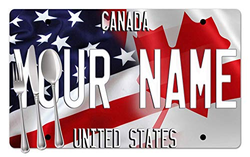 BRGiftShop Personalized Custom Name Mixed USA and Canada Flag Set of 4 Table Placemats