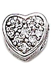 Zable Sterling Silver CZ Heart Bead