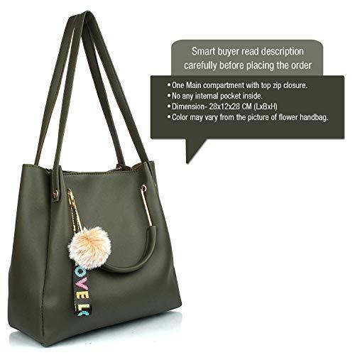 Mammon Women's Stylish Handbags Combo (3LR-bib-Green-Tie)