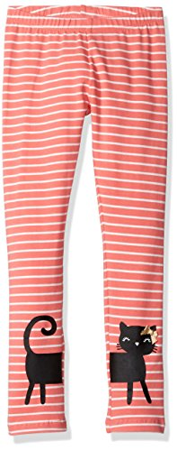 Gymboree Toddler Girls' Cat Striped Legging, Sunkist Coral, 3T