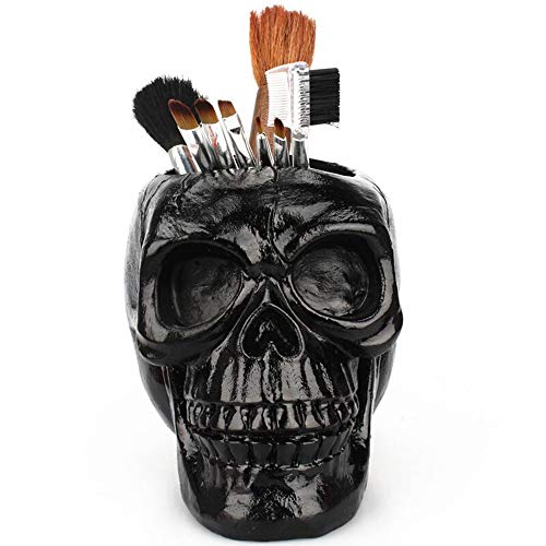 3D Skull Head Figurine Skeleton Ornament Stationery Holder Makeup Storage Container Flower Pot Jewellery Box Office Home Decor