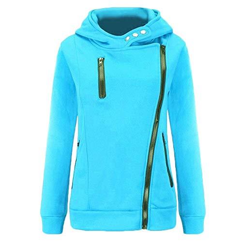 à taille veste Sweat couleur clair capuche bleu décontractée femmes Zhrui pour jaune moyenne dpxBxHq