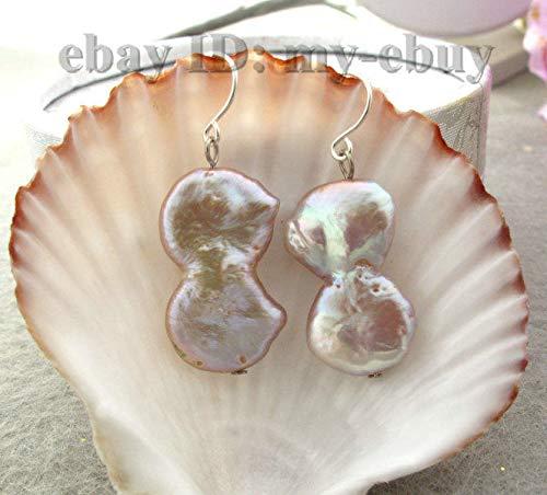 FidgetKute Natural Purple Keishi Keshi Baroque Twins Pearl Earrings 925 Silver Hook