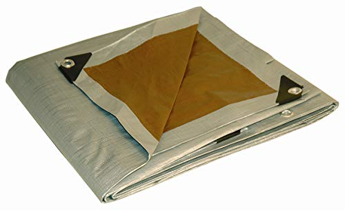6x8 Multi-Purpose Silver/Brown Heavy Duty DRY TOP Poly Tarp (6'x8') (Tarp Canvas Heavy Duty Tan)