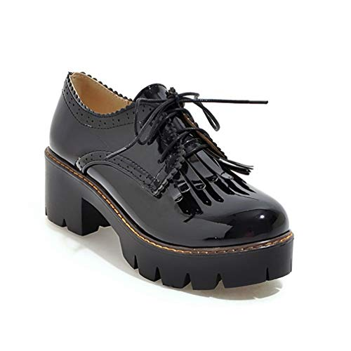 GIY Women's Lace Up Platform Oxford Pumps Round Toe Wingtip Tassels Chunky Mid Heel Vintage Dress Shoes ()