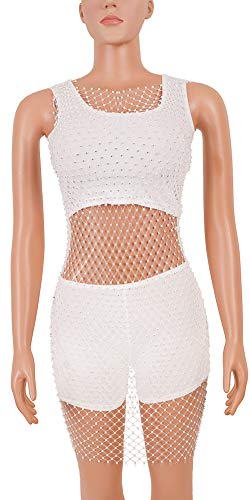 hujukuludusu Women See Through Sheer Beaded Chocker Crop Top Bodycon Skirt Clubwear