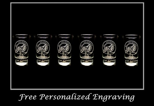Campbell Scottish Family Clan Crest Shot Glass, Set of 6 - Free Personalized Engraving, Celtic Decor, Scottish (Scottish Clan Coat Arms)