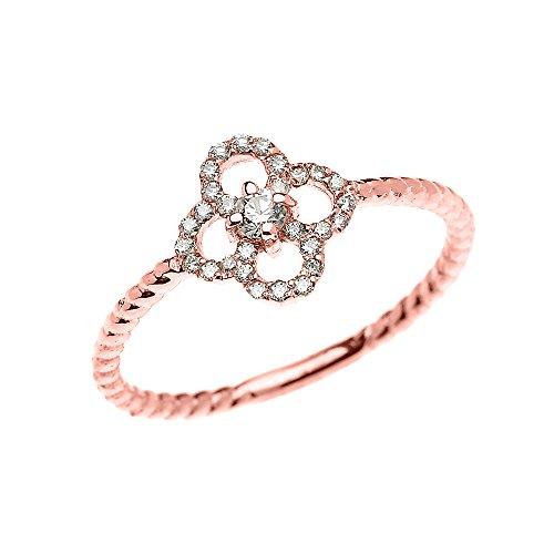 Leaf Design Diamond (10k Rose Gold Dainty Diamond Four Leaf Clover Good Luck Rope Design Ring(Size 8.5))