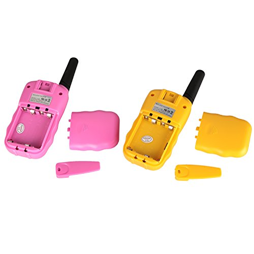 Denmer T-388 Kids Walkie Talkie UHF 462.5625-467.7250MHz 22CH LCD Display Flashlight VOX Toy 2 Way Radio for Children (Yellow and Pink)