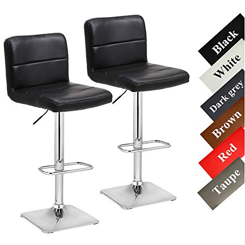 Stool Counter Black 24' (Modern Swivel Barstools with Chrome Base, Adjustable Counter Height Bar Stool, Black PU Leather Padded with Back, Set of 2, Hold Up to 350lbs)