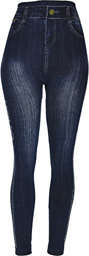 Hand By Hand Aprileo Women's Leggings Jeans Look Printed Stretch [Love Dark Denim](One Size) by Hand By Hand (Image #3)