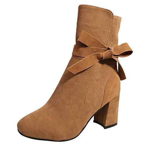 FORUU Ankle Boot Women Platform High Heels Bow Zipper Shoes Short Boot Casual Footwear Brown