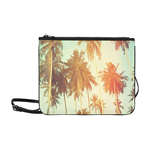 Vintage Palm Trees At Tropical Coast Pattern Custom High-grade Nylon Slim Clutch Bag Cross-body Bag Shoulder Bag