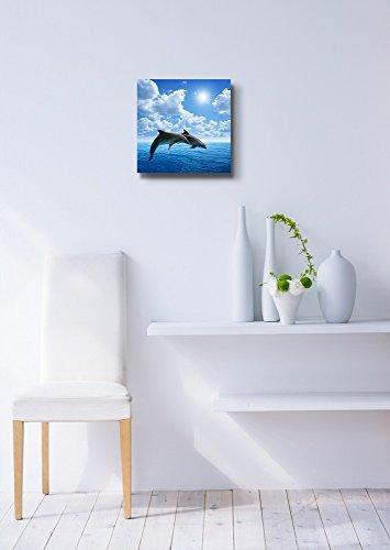 Two Dolphins Jumping on The Clear Blue Sea Ocean Wall Decor