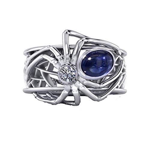 - Eleusine Retro Royal Blue Cubic Zirconia Spider Animal Ring for Women Men Silver Color Big Hollow CZ Wedding Bands Ring for Party (Size 8)