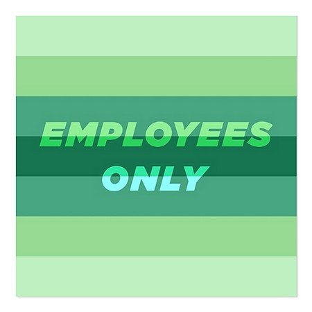 CGSignLab | ''Employees Only -Modern Gradient'' Repositionable Opaque White 1st Surface Static-Cling Non-Adhesive Window Decal (5-Pack) | 24''x24'' by CGSignLab