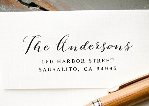 Self-Inking Calligraphy Return Address Stamp, White Pre-Inked Custom Rubber Stamp, Wedding Invitation Stamp, Hand Calligraphy Font Save the Date Stamp by InkMeThis Calligraphy & Engraving