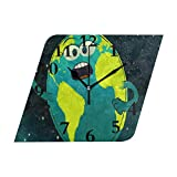 NMCEO Rhombus Wall Clock Solar System Song Storybots Acrylic Silent Non-Ticking for Home Decor Creative