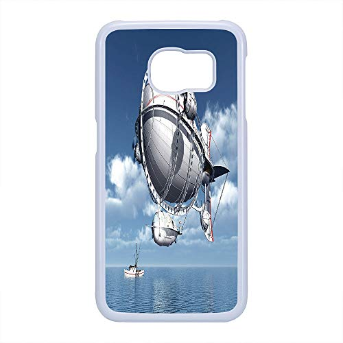 Cell Phone Case Compatible Samsung Galaxy S6 Edge,Zeppelin Decor - Hard Plastic Phone Case/White - Giant Aircraft Over The Sea Flying Cloudy Sky Adventure Journey Image