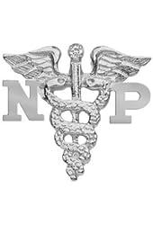 NursingPin - Nurse Practitioner NP Nursing Pin with Diamond in Silver