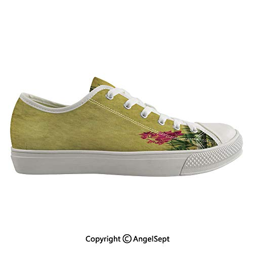 Durable Anti-Slip Sole Washable Canvas Shoes 14.17inch Wild Orchides with Bamboo Leaves on Old Antique Paper Floral Asian Style Art,Yellow Green Pink Flexible and Soft Nice Gift