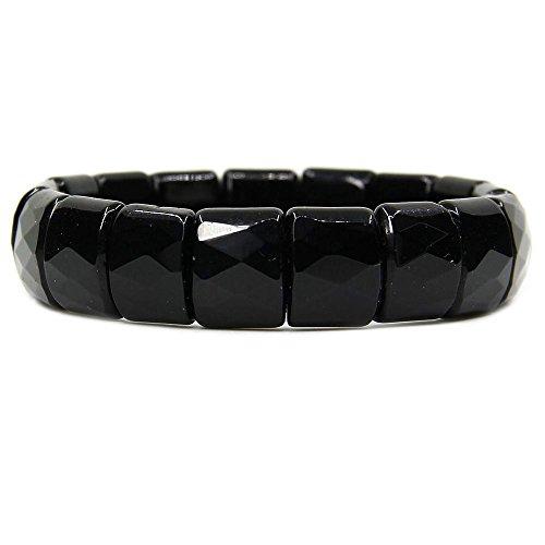 Amandastone Natural Black Tourmaline Genuine Semi Precious Gemstone 15mm Square Grain Faceted Beaded Stretchable Bracelet - Faceted Black Bracelet Stretch