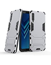 Miagon Kickstand Case for Samsung Galaxy A7 2018,Cool Dual Layer Hard PC Back Case with Stand Function Shockproof Full Body Cover,Silver