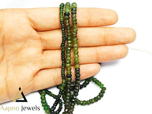 - 1 Strand Natural Green Tourmaline Loose Beads Strand, 3-4mm Faceted Rondelle Green Tourmaline Beads, Green Tourmaline Beads Necklace, Jewelry Making Green Tourmaline Beads, Knotted Tourmaline Necklace
