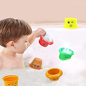 sunnymi Bathing Toys Stacking Toy, Set 6Pcs Stacking Cups Baby Play Water Swimming Pool Float Toy – For Baby Birthday…