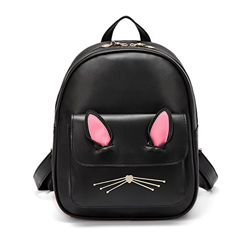 LOYOMA Leather Backpack Cute Cat Backpacks for Girls Schoolbag Small Casual Daypack (Black)