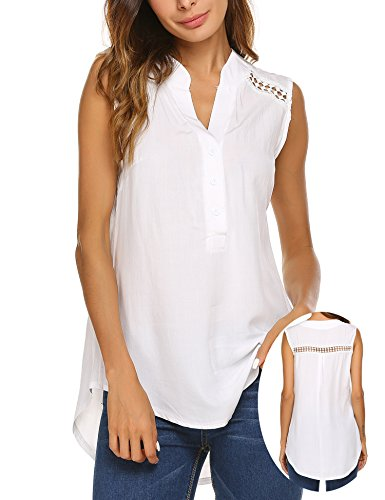 Tank Top Blouse Shirt (Teewanna Women's V Neck Ruched Sleeveless Sexy Blouse Stretch Tank Tops (White, L))