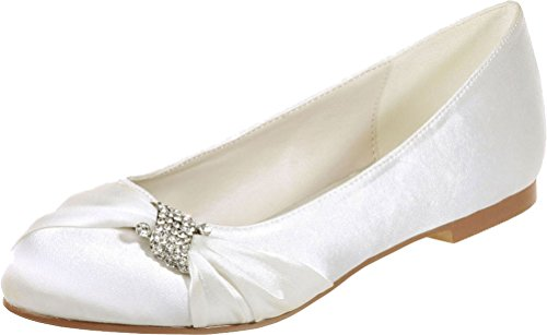Satinmps Bride Flat Womens 22 On Ivory Purple Satin 9872 Toe Slip Wedding Vimedea Round EtxIqwId