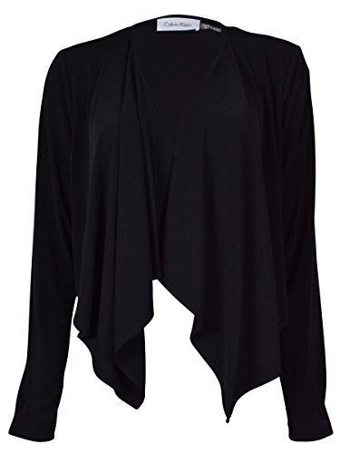 Calvin Klein Women's Open Front Crop Jacket (PS, Black)