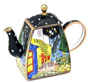 Kelvin Chen Enameled Miniature Tea Pot -Night Cafe