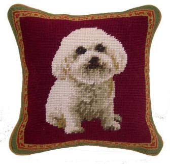 KooK Bichon Frise Portrait Needlepoint Dog Pillow - 10
