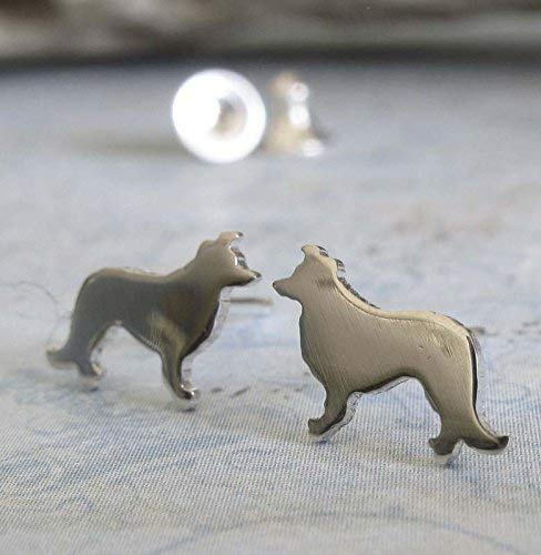 Border Collie stud earrings sterling silver polished tiny dog jewelry. Handmade in the -